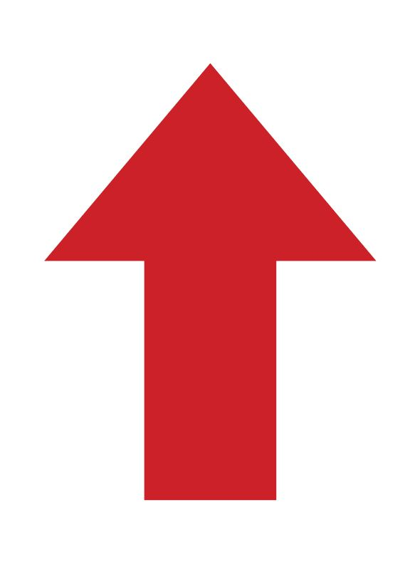 "DIRECTION ARROW,12x16"", RED,ADHESIVE BACK"